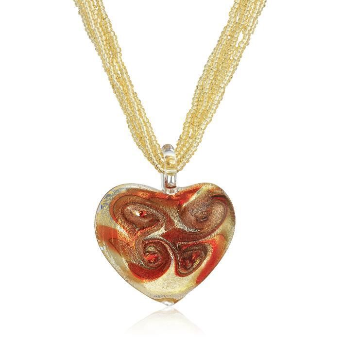 Red Murano Heart On Murano Bead Necklace With 14k Clasp Strand Necklace, 18 R9CTD
