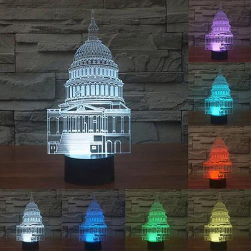 Taj Usb 3d Commutateur Led Enfant Creative Veilleuse Mahal Tactile Lumières Lampe Nuit LpMjSzGVUq