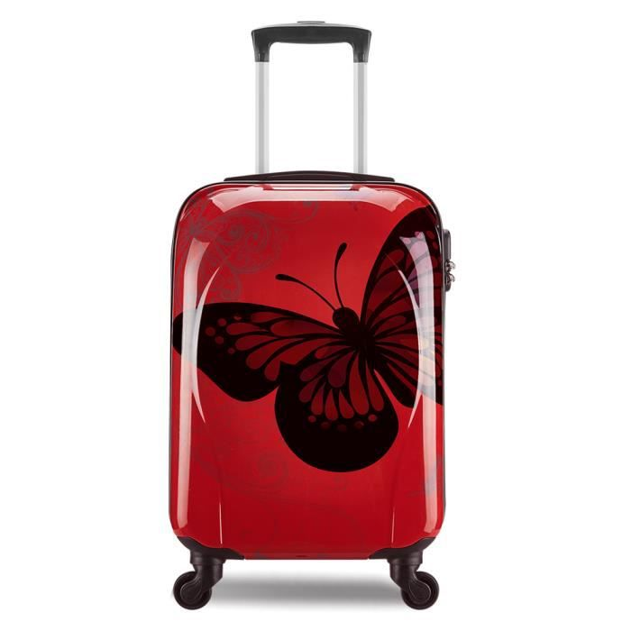 30f30aa07c Valise cabine 55cm bagage a main femme enfant avions low cost 4 roues  Papillon léger 40 L Rouge