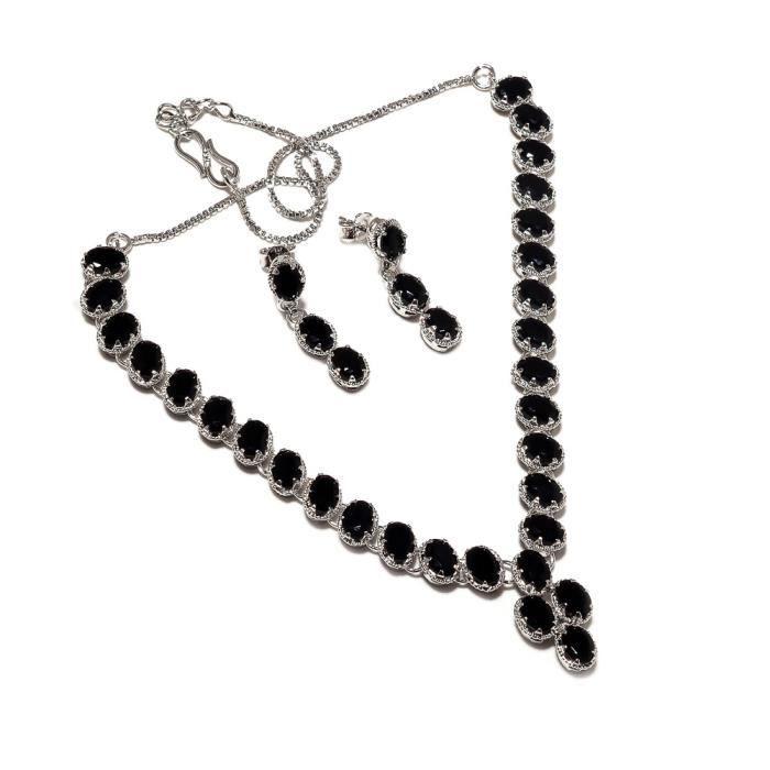 Be You plaqué belle onyx noir diamant oeil rhodium argent boucle doreille et collier ensemble sterling pour les femmes