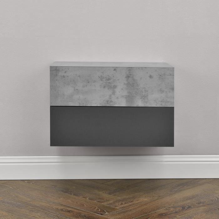 [en.casa]® 2 étagères murales pour chambre à coucher avec 2 tiroirs - béton  et gris foncé - 46x30x15cm