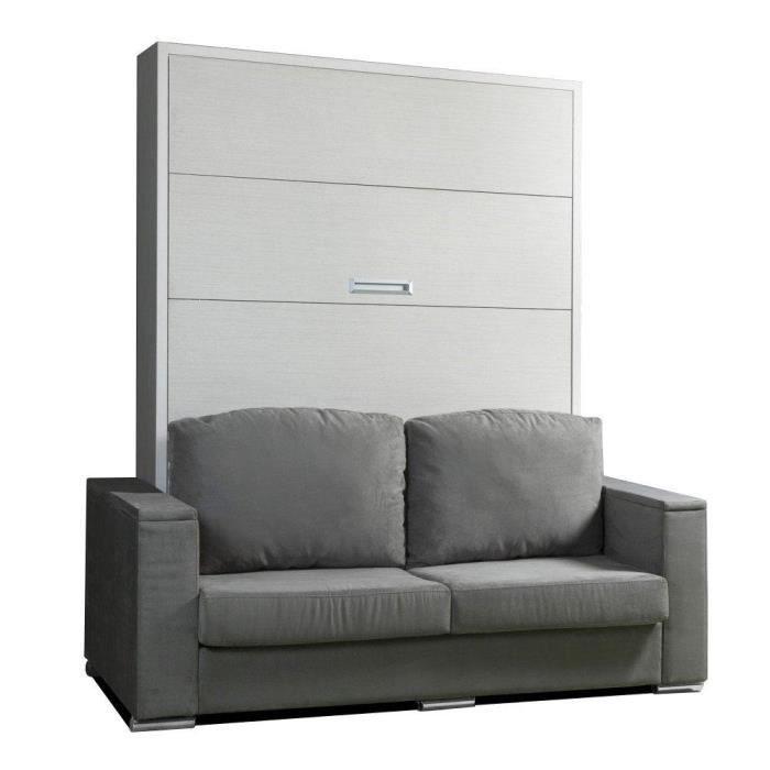 Armoire lit escamotable LYON canapé intégré couchage 140*200cm ...