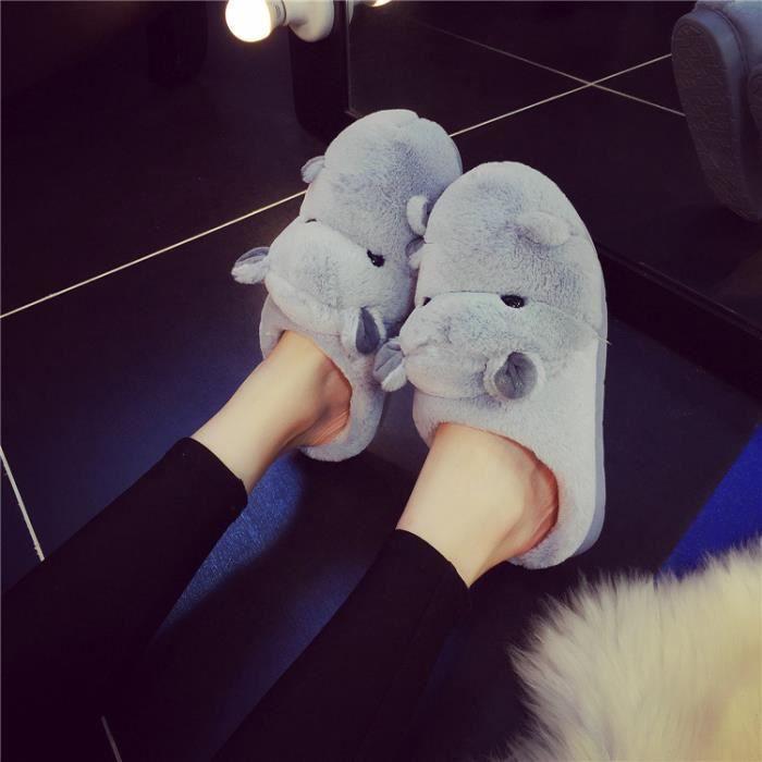 Pantoufles de coton hippopotames chaudes d'hiver Pantoufles femme Pantoufles hommes HsMsxVe
