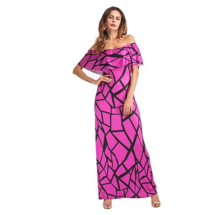 Robe longue Grande taille Femme Chic 2018 Printemps Ete - volants épaules nues impression - 175