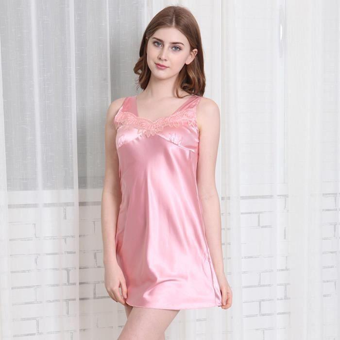 f2922380acc24 Femme Déshabillés Pyjamas sexy en satin petite tenue nuisette ...