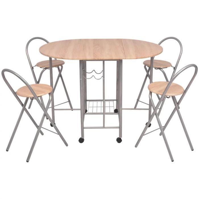 Salle Table À Pliable 5 Et Pièces Mdf Ensemble Chaises De Manger rdsChQt