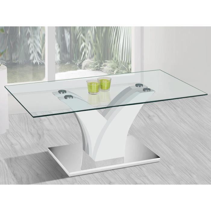 dbd17014d27f1 Table basse design en verre structure laque blanc - Achat   Vente ...