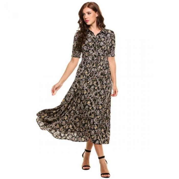 Robe femme Style Vintage manches courtes impression Long Maxi robe à fleurs