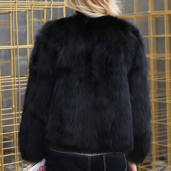 Chaud Fourrure En Manteau Noir Fausse Dames Co5398 Femmes Manteaux D'hiver Solide Parka 4qEX7