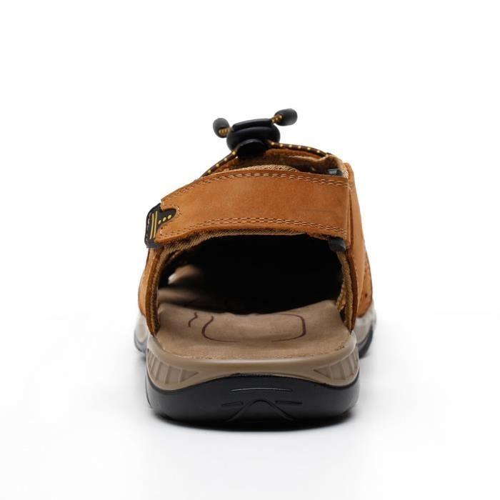 Sandales sport en cuir pour hommes Sandales d'été en plein air Pêcheur Respirant Sport Plage XDQR0 Taille-41 mfrjtRi1G