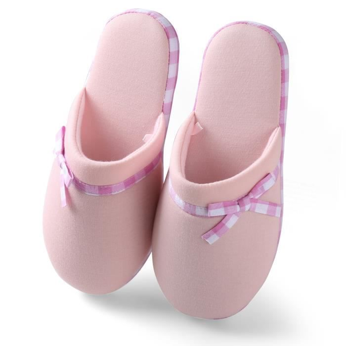 Lady's Slip-on Soft Warm Cotton Indoor Slippers Scuff Home Bedroom Spa Footwear U0A9G Taille-36