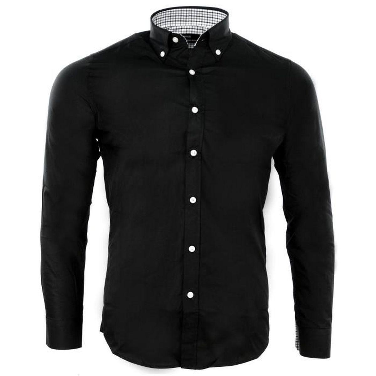 3a6050fb1c4d4 CHEMISE HUGO BOSS HOMME Noir - Achat   Vente chemise - chemisette ...