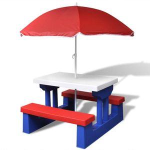 SALON DE JARDIN  Table de pique-nique pour enfants avec parasol