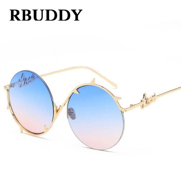 RBUDDY nouvelles lunettes de soleil ronde femme lunettes 2017 Demi métalFrame Rivet lentilles claires Gradient Lunettes de soleil