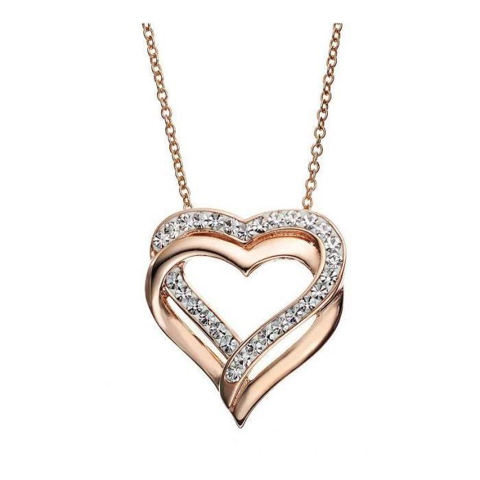 collier pendentif coeur plaqu or rose cristal achat vente sautoir et collier collier. Black Bedroom Furniture Sets. Home Design Ideas
