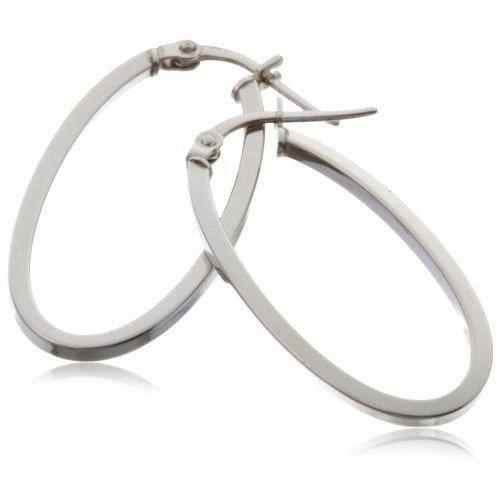 Boucles d`oreilles créoles - Femme - Or blanc 9 carats 1 Gr