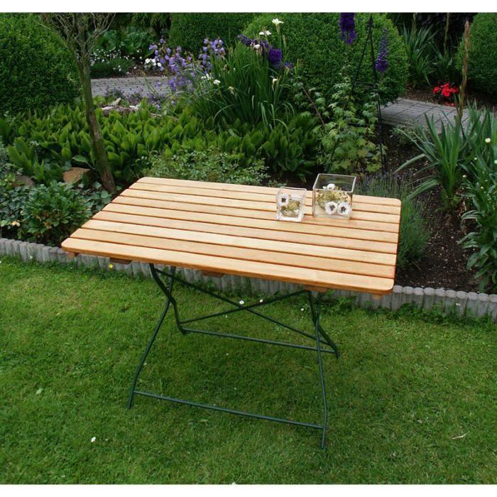 Table rectangulaire pliante salon de jardin 70x110cm acier plat vert ...