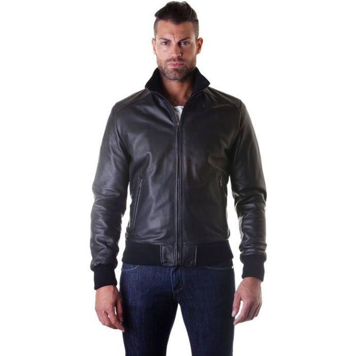 BOMBER couleur noir Blouson cuir homme style bomber cuir plongé -  Colore Noir 676a61d05688