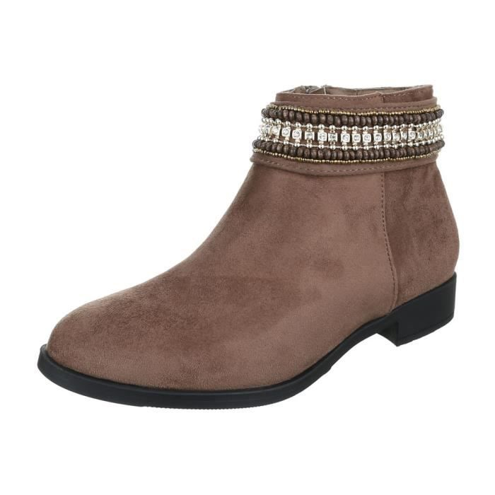 femme bottine chaussure arbre court Western botte marron