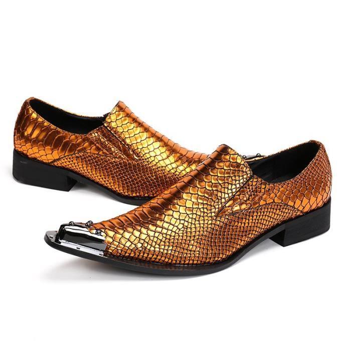 en cuir véritable serpent peau New Gold hommes Chaussures Mode Pointu Toe de mariage luxe Oxford chaussures pour