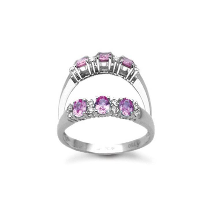 Jewelco London Or Blanc 18k Saphir et Diamant Trilogie Éternité Bague