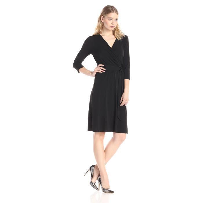 Ny Collection Robe à manches longues en b-slim pour femmes à cravate à la taille DQ7XP