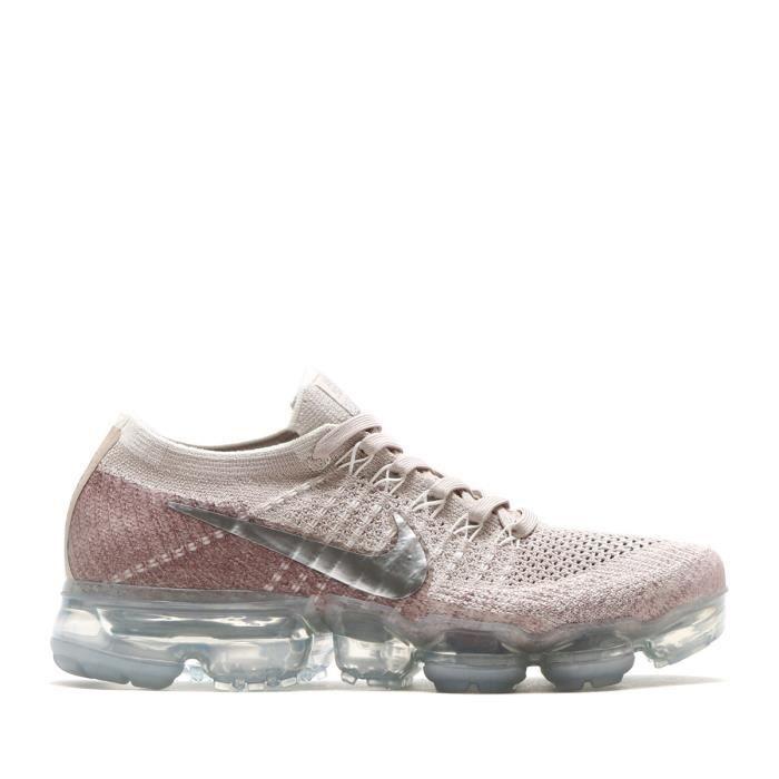 buy popular 962e5 0cca1 Baskets Nike Air Vapormax Flyknit Chaussure de Running Femme String Gris  pale