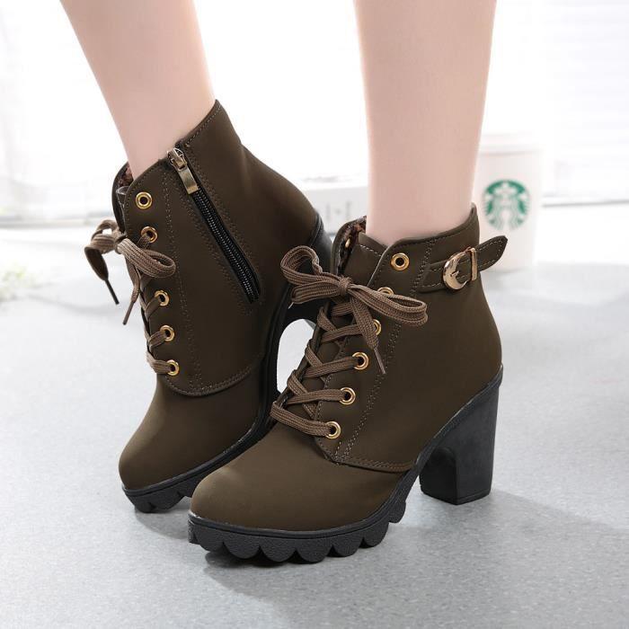 Mode féminine haut talon lacent bottines dames chaussures plate-forme boucle SXSssFInv1