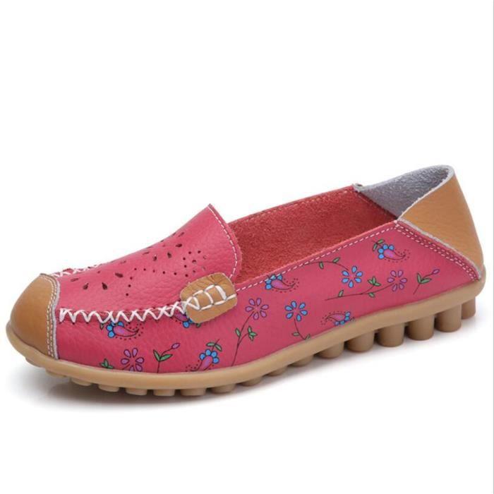 la moitié aeb3c df1c4 Mocassin Femmes Cuir Talon plat Classique Chaussure BCHT-XZ046Rose37