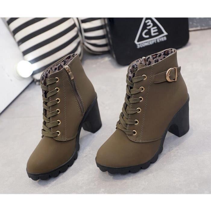 Hiver Talon haut talon épais Bottines à lacets Ladies Buckle Platform Chaussures femme taille 35-40