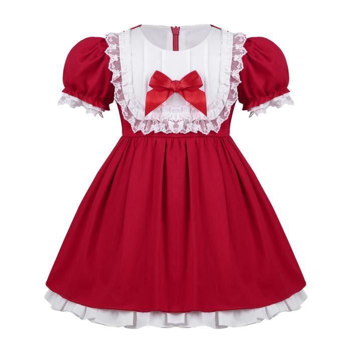 e059fd41aab47 Robe de Princesse Fille Enfant Manches Courtes Costume Noël Rouge 12 Mois -  5 Ans