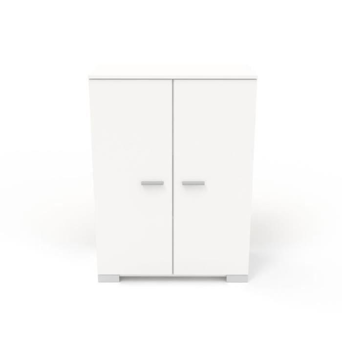 Petite armoire Blanche 2 portes - LILLE - L 77 x l 40 x H 106 ...