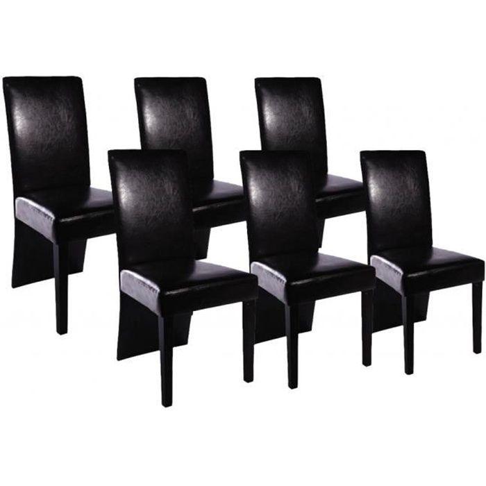 Set De 6 Chaises De Salle A Manger Noires En Similicuir Achat