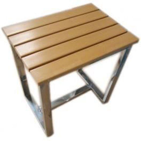 Tabouret Bois Douche tabouret hammam douche inox et bois résiné - achat / vente fauteuil