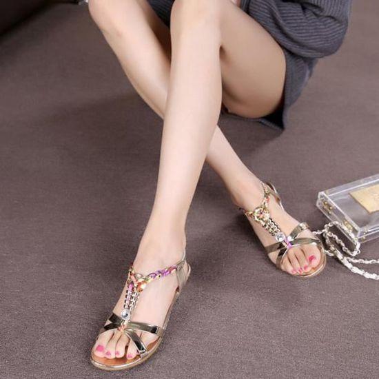 Sandales Femmes or Chaussures Mode D'été Plage De Plates Pour Des Occasionnelles WrdxCBoe