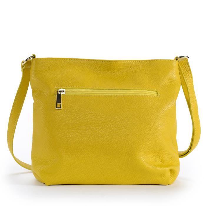 Sac à main bandoulière en cuir femme - Modèle London jaune