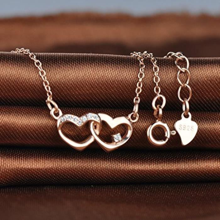 Collier Pendentif Les Deux Cœurs Classique Associés Orné Zirconium Brillant En Argent Fin S925 Or Rose Style Élégant Et Particul