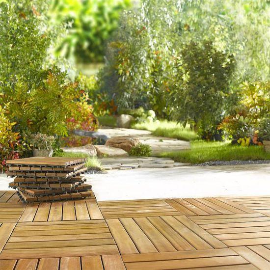 33x Dalles de terrasse en bois d acacia pour 3m² - 30 x 30 cm Jardin  extérieur - Achat   Vente dallage 33x Dalles de terrasse en b - Cdiscount 611ba85d7e21