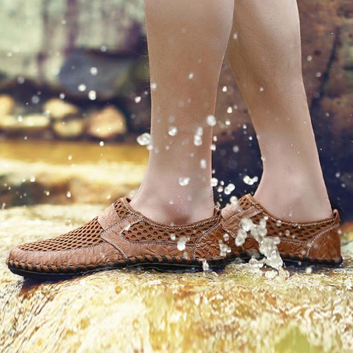 Chaussure Homme Printemps Été Comfortable Respirant Slip On Chaussures CHT-XZ070Marron44 BcCJeAAjO3