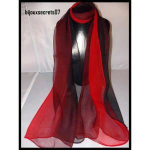 04a829a76b72 Foulard écharpe soie dégradé noir prune rouge Noir - Achat   Vente ...