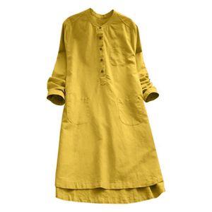 Femmes Robe Rétro à manches longues Bouton en vrac Casual Tops Chemisier  Mini Robe chemise   1b47cfcc0b1