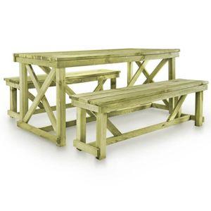 Table en bois avec banc - Achat / Vente pas cher
