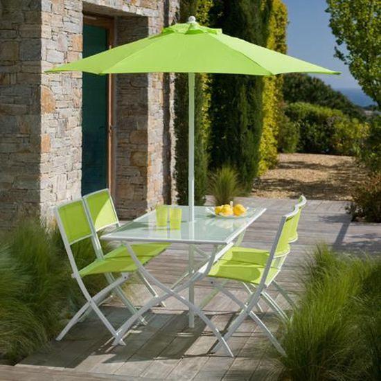 Salon de jardin vert anis : 1 table + 4 chai - Achat / Vente ...
