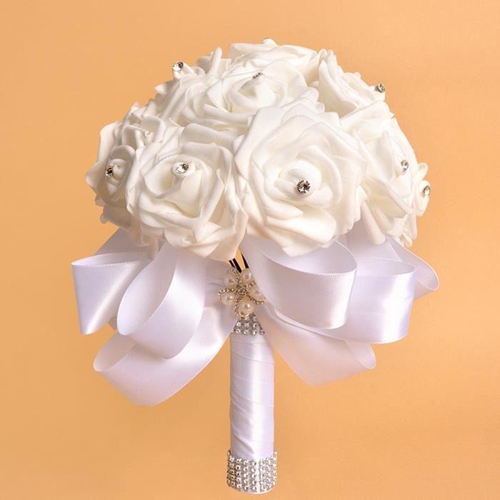 BOUQUET MARIÉE TISSU Cristal Roses perle demoiselle d'honneur de mariag