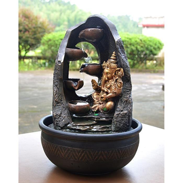 Grande Fontaine DIntrieur Mystic Ganesh Cm  clairage Led Noir