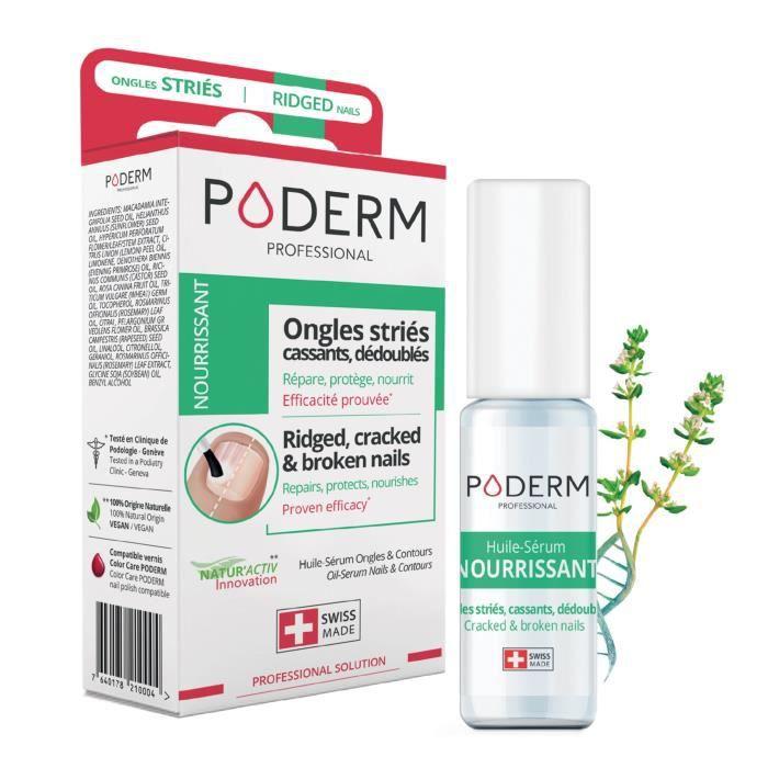 Huile sérum Nourrissante PODERM. Répare, protège les ongles mains/pieds.  Traitement ongles striés secs, cassants. Made In Suisse