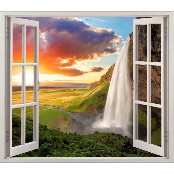 Deco Paysage sticker fenêtre déco paysage chutes réf 5435 dimensions - 120x105cm