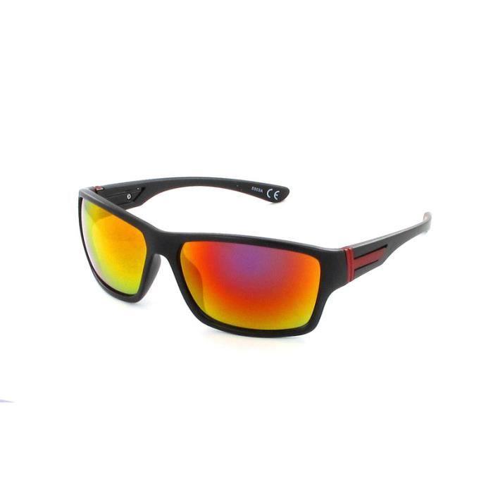 Lunettes carrées sport-S503 A Noir, verre miroir orange/violet