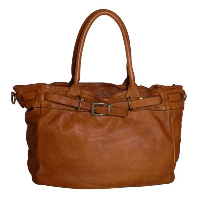 6bd9ffe237 JU&ZO - Sac cabas en cuir Le Augusta - Caramel - Achat / Vente sac ...