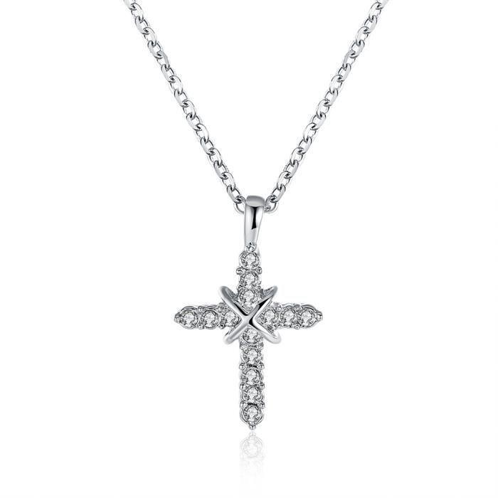 MERRILL® Collier 18K Platine Plaqué Swarovski Elements Cristal Croix  Pendentifs Collier pour les Femmes Bijoux PN730 554b4f567be9
